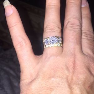 Gold over silver 3 piece ring set. Princess cut